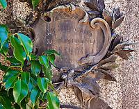 A plaque on a tomb in the Cementario de la Recoleta in Buenos Aires, Argentina.