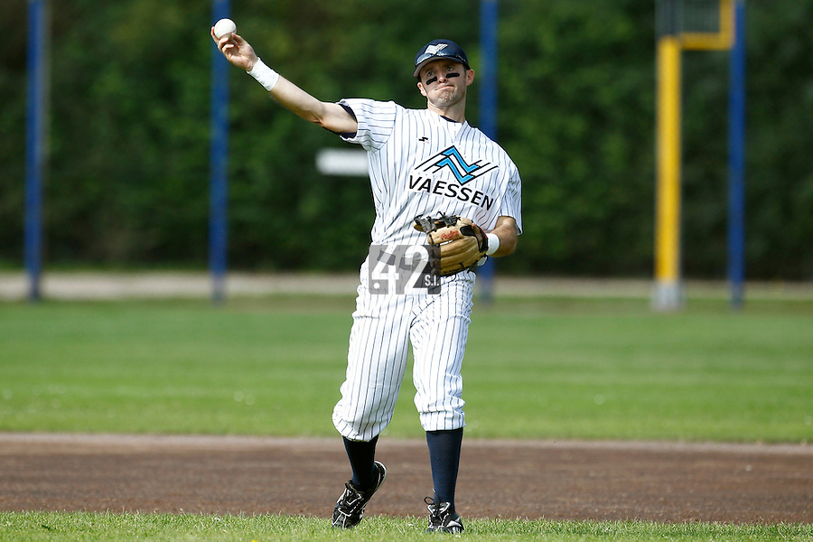 03 September 2011: Michael Duursma of Vaessen Pioniers is seen during game 1 of the 2011 Holland Series won 5-4 in inning number 14 by L&D Amsterdam Pirates over Vaessen Pioniers, in Hoofddorp, Netherlands.