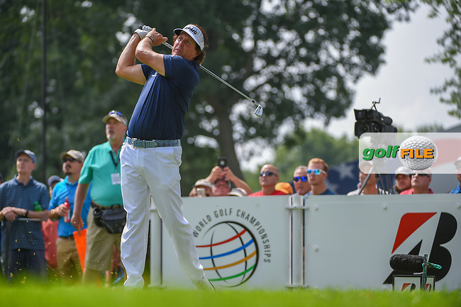 Phil Mickelson (USA) watches his tee shot on 15 during 2nd round of the World Golf Championships - Bridgestone Invitational, at the Firestone Country Club, Akron, Ohio. 8/3/2018.<br /> Picture: Golffile | Ken Murray<br /> <br /> <br /> All photo usage must carry mandatory copyright credit (© Golffile | Ken Murray)