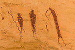 A Barrier Canyon-style pictograph panel in Wild Horse Canyon in the San Rafael Swell in central Utah.  This rock art panel was painted on the ceiling of an alcove in the cliffs by the people of the Archaic Culture between 1,500 and 4,000 years ago.
