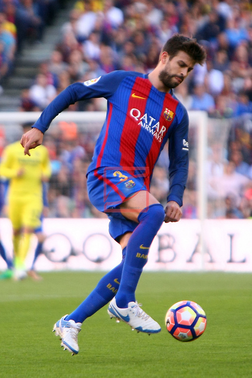 League Santander 2016/2017. Game: 36.<br /> FC Barcelona vs Villarreal CF: 4-1.<br /> Gerard Pique.