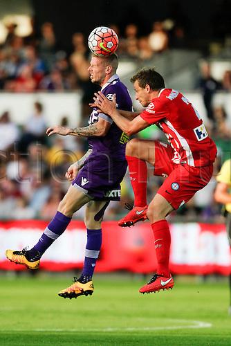 03.04.2016. NIB Stadium, Perth, Australia. Hyundai A League. Perth Glory versus Melbourne City. Andy Keogh wins the header during the first half.