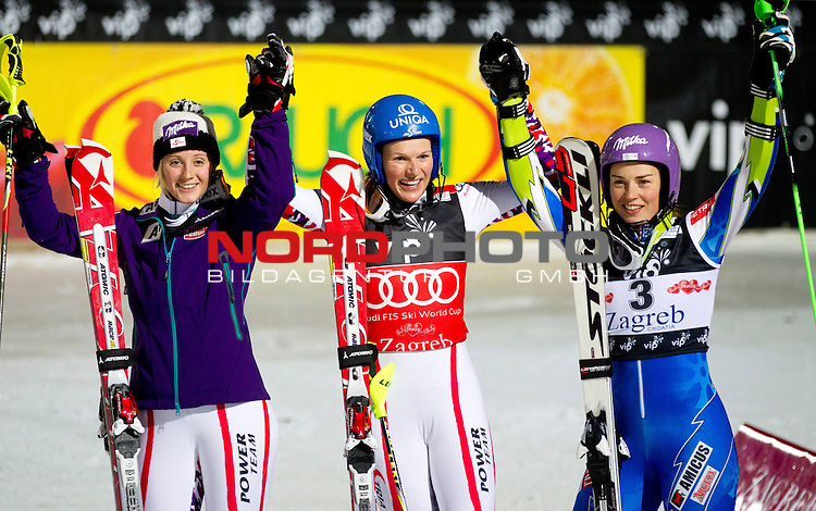 "Third placed KIRCHGASSER Michaela (AUT), winner SCHILD Marlies (AUT) and Second placed MAZE Tina (SLO) celebrate after the 2nd Run during 5th Ladies' Slalom at FIS Alpine Ski World Cup  ""Vip Snow Queen Trophy"" 2012 on January 3, 2012 at Red Run course, Sljeme, Zagreb, Croatia.  (Photo By Vid Ponikvar / Sportida.com) *** Local Caption ***"