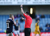 17th March 2019, The Den, London, England; The Emirates FA Cup, quarter final, Millwall versus Brighton and Hove Albion; Referee Christopher Kavanagh showing a Red card to Shane Ferguson of Millwall after shoving Lewis Dunk of Brighton & Hove Albion on the pitch