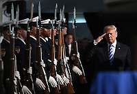 U.S. President Donald Trump participates in the U.S. Coast Guard Change-of-Command Ceremony on June 1, 2018 at the U.S. Coast Guard Headquarters in Washington, DC.<br /> CAP/MPI/RS<br /> &copy;RS/MPI/Capital Pictures