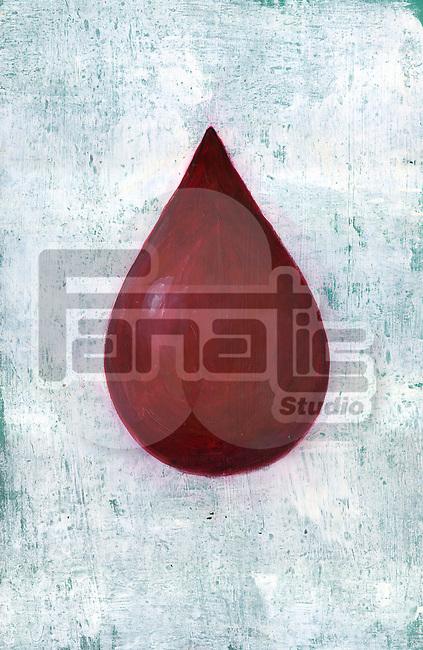 Illustrative image of blood drop against blue background