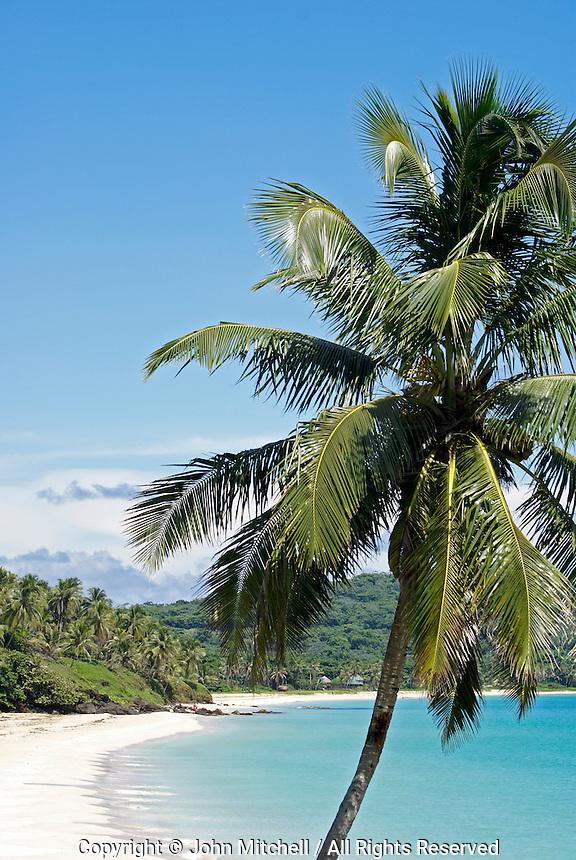 Pristine white sand Caribbean beach on Big Corn Island, Nicaragua