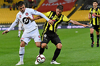 Wellington Phoenix&rsquo; Nathan Burns and Western Sydney Wanderers FC&rsquo;s Josh Risdon in action during the A-League - Wellington Phoenix v Western Sydney Wanderers at Westpac Stadium, Wellington, New Zealand on Saturday 3 November  2018. <br /> Photo by Masanori Udagawa. <br /> www.photowellington.photoshelter.com