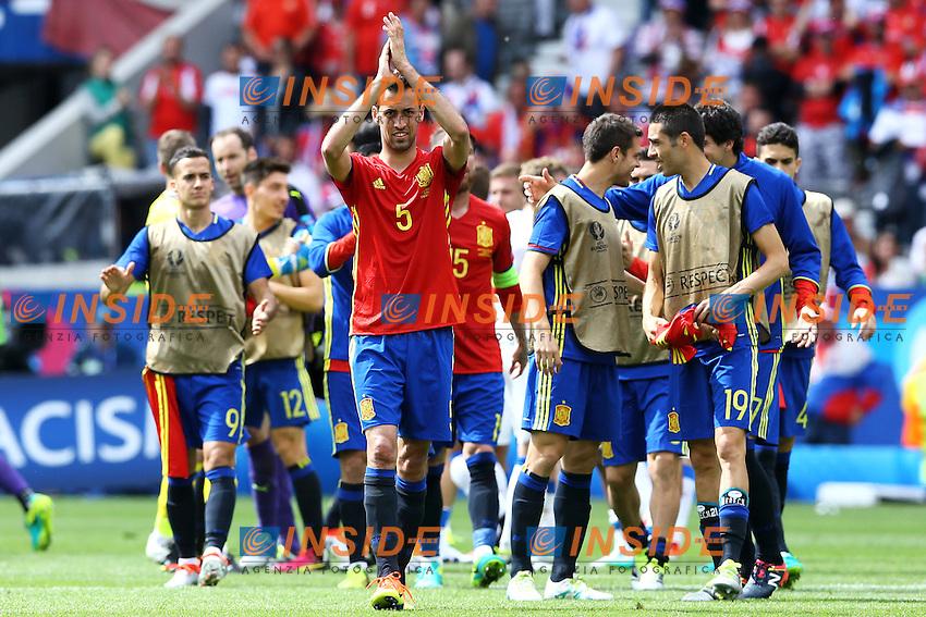 Sergio Busquets<br /> Spain celebrates <br /> Toulouse 13-06-2016 Stade de Toulouse Footballl Euro2016 Spain - Czech Republic  / Spagna - Repubblica Ceca Group Stage Group D. Foto Matteo Ciambelli / Insidefoto