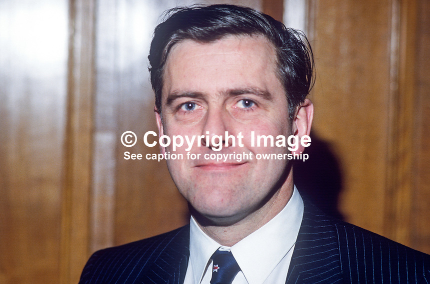 Jim Nicholson, Ulster Unionist, candidate, UK Parliamentary by-elections, January 1986. He was one of 15 sitting Unionist MPs, Official, Democratic & Popular, who resigned in protest at the signing of the Anglo-Irish Agreement. As a result of the exercise one unionist seat was lost to the SDLP. Taken at joint Press Conference announcing the mass resignation of unionist MPs. 19860114JN1...Copyright Image from Victor Patterson, 54 Dorchester Park, Belfast, United Kingdom, UK...For my Terms and Conditions of Use go to http://www.victorpatterson.com/Victor_Patterson/Terms_%26_Conditions.html