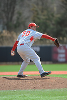 University of Houston Cougers pitcher Aaron Stewart (30) during game game 1 of a double header against the Rutgers University Scarlet Knights at Bainton Field on April 5, 2014 in Piscataway, New Jersey. Rutgers defeated Houston 7-3.      <br />  (Tomasso DeRosa/ Four Seam Images)