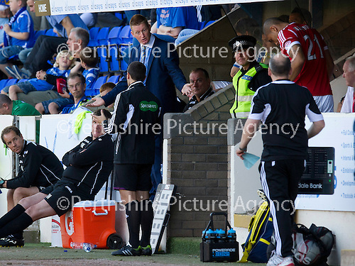 St Johnstone v Aberdeen....18.08.12   SPL.Steve Lomas argues with the 4th official.Picture by Graeme Hart..Copyright Perthshire Picture Agency.Tel: 01738 623350  Mobile: 07990 594431
