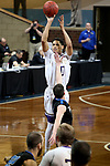 SIOUX FALLS, SD - MARCH 12:  Roosevelt Adams #0 from the College of Idaho spots up for a jumper against St. Francis during their semifinal game at the 2018 NAIA DII Men's Basketball Championship at the Sanford Pentagon in Sioux Falls. (Photo by Dave Eggen/Inertia)