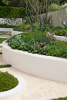 Raised white concrete beds with curving pathway, green and white color theme, perennials and shrubs, flowering& foliage, white and pale walls
