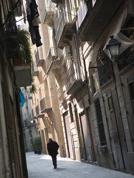 A narrow street in the Born neighborhood of Barcelona, Spain. Photo by Kevin J. Miyazaki/Redux