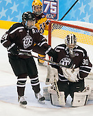 Shayne Gostisbehere (Union - 14), Colin Stevens (Union - 30) - The Union College Dutchmen defeated the University of Minnesota Golden Gophers 7-4 to win the 2014 NCAA D1 men's national championship on Saturday, April 12, 2014, at the Wells Fargo Center in Philadelphia, Pennsylvania.