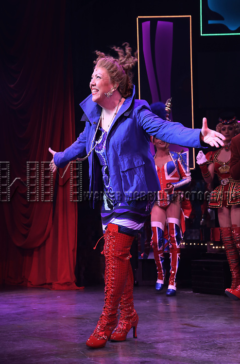 "Jennifer Perry during the Curtain Call for Wayne Brady's return to ""Kinky Boots"" on Broadway on March 5, 2018 at the Hirschfeld Theatre in New York City."