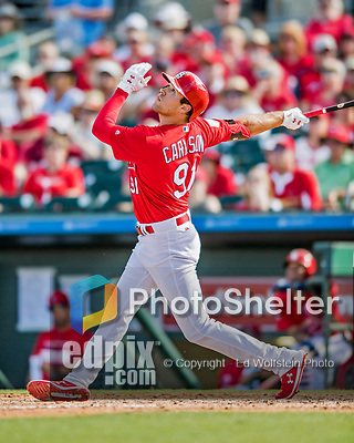 28 February 2019: St. Louis Cardinals top prospect outfielder Dylan Carlson at bat in the 8th inning of a Spring Training game against the New York Mets at Roger Dean Stadium in Jupiter, Florida. The Mets defeated the Cardinals 3-2 in Grapefruit League play. Mandatory Credit: Ed Wolfstein Photo *** RAW (NEF) Image File Available ***