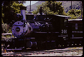 3/4 view D&amp;RGW #346 C-19 displayed at Colorado Railroad Museum.<br /> D&amp;RGW  Golden, CO