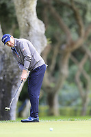 Stephen Gallacher (SCO) putts on the 8th green during Friday's storm delayed Round 2 of the Andalucia Valderrama Masters 2018 hosted by the Sergio Foundation, held at Real Golf de Valderrama, Sotogrande, San Roque, Spain. 19th October 2018.<br /> Picture: Eoin Clarke | Golffile<br /> <br /> <br /> All photos usage must carry mandatory copyright credit (&copy; Golffile | Eoin Clarke)