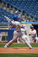Midland RockHounds third baseman Renato Nunez (34) hits a two run home run in the eleventh inning during a game against the Tulsa Drillers on June 3, 2015 at Oneok Field in Tulsa, Oklahoma.  Midland defeated Tulsa 5-3.  (Mike Janes/Four Seam Images)