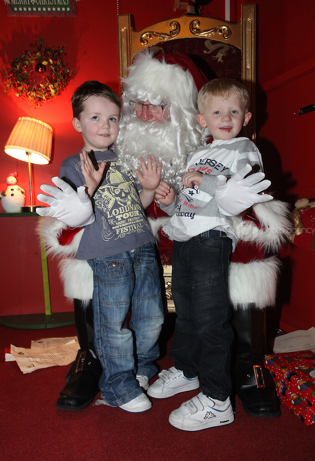 ****NO FEE PIC ******.19/11/2011.(L to r) Ryan O' Leary & Sean Whitehead both from Dublin.at the opening of Santa's Playland in The Ambassador Theatre,Dublin.One of this Christmas' biggest events is coming!  Santa's Playland takes up residence at The Ambassador Theatre in preparation for this year's festive season.  The spectacular event opens on Saturday 19 November and runs until Friday 23 December. Santa's Playland will see children transported to a magical Christmas paradise.On entering Santa's Playland children will be treated to a special Christmas play time.  The Play Area is full of Christmas treats with bouncy castles, slides and Christmas displays..Photo: Gareth Chaney Collins