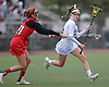 Caitlin Cook #16 of Garden City, right, gets pressured by Kendall Halpern #21 of Syosset during a Nassau County varsity girls lacrosse game at Garden City High School on Saturday, April 1, 2017. Cook scored two goals in Garden City's 13-9 win. (Note to editor: game was shot in place of assigned Farmingdale-North Shore matchup, which I learned was canceled upon arriving at Farmingdale HS)