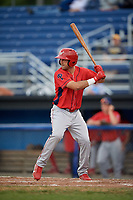Williamsport Crosscutters left fielder Josh Stephen (2) at bat during a game against the Batavia Muckdogs on August 3, 2017 at Dwyer Stadium in Batavia, New York.  Williamsport defeated Batavia 2-1.  (Mike Janes/Four Seam Images)