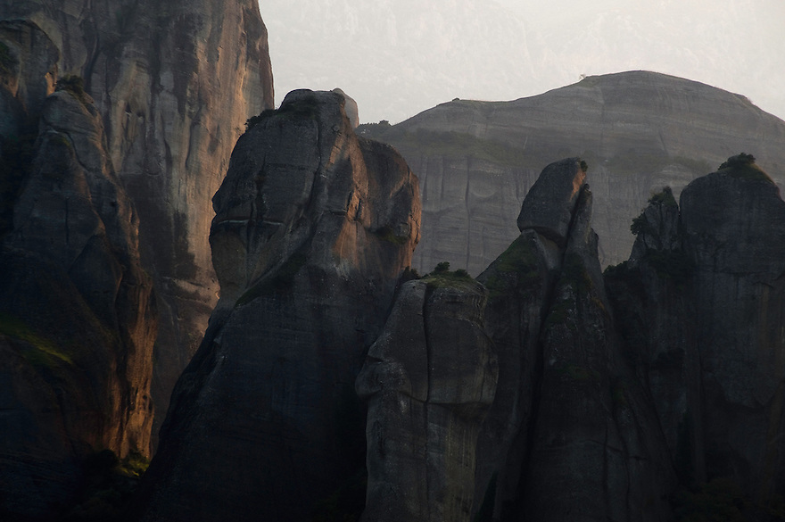 Greece, Meteora, cliffs in sunset