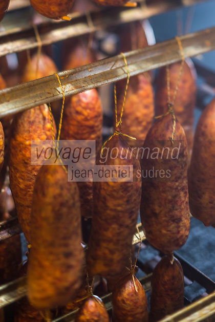 Europe/France/Franche-Comté/25/Doubs/Labergement-Sainte-Marie: Boucherie Paillard - Les salaisons dans le tuyé , saucisses de Morteau mises a fumer et secher dans le tuyé,// France, Doubs, Labergement Sainte Marie, butcher Paillard  sausage Morteau put a smoking and drying in the tuye, large traditional fireplace,<br /> Auto N°: 2013-111a