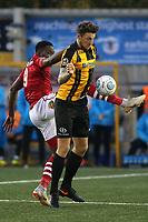Rob Swaine of Maidstone United and Wrexham's Mike Fondop challenge for the ball during Maidstone United vs Wrexham, Vanarama National League Football at the Gallagher Stadium on 17th November 2018