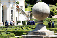 Ministers Luciana Lamorgese, Nunzia Catalfo,  Paola Pisano, Giuseppe Provenzano, Federico d'Inca', Vincenzo Boccia and the Governor of the Bank of Italy Ignazio Visco talking in the gardens of Villa Pamphilj, where the Italian Premier convened the States General of Economy. The summit was strictly behind closed doors and the press was kept outside. Rome (Italy), June 13th 2020<br /> Samantha Zucchi Insidefoto
