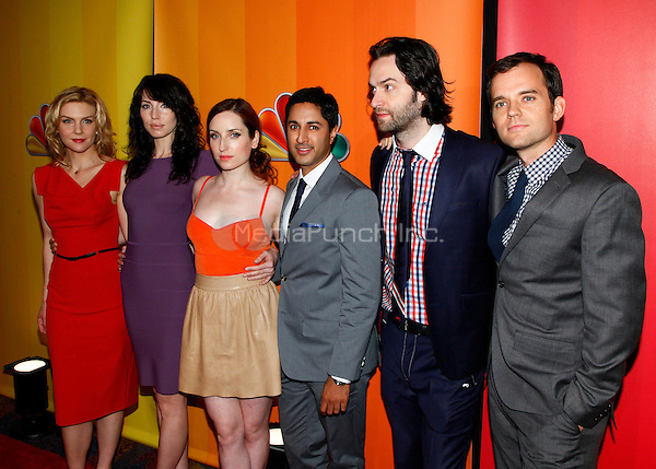 16 May 2011 - New York , NY - Cast of Whitney (L-R) Rhea Seehorn, Whitney Cummings, Zoe Lister-Jones, Maulik Pancholy, Chris D'Elia & Dan O'Brien pictured at The 2011/12 NBC Primetime Preview at Hilton 6th Ave, New York City. Photo Credit: © Martin Roe / MediaPunch Inc.