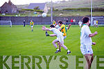 John Mitchels launches another attack with Ciaran Deane launching this ball high and on target over the bar in The Con Keating Park Cahersiveen on Tuesday.