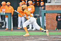 Tennessee Volunteers right fielder Justin Ammons (9) swings at a pitch during a game against the Appalachian State Mountaineers at Lindsey Nelson Stadium on February 16, 2019 in Knoxville, Tennessee. The Volunteers defeated Mountaineers 2-0. (Tony Farlow/Four Seam Images)