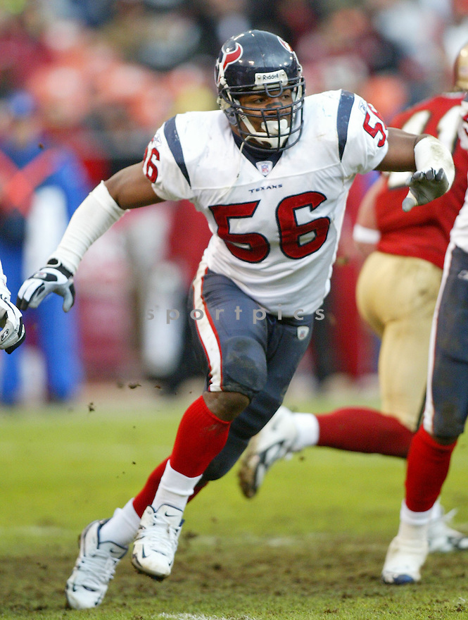 Morton Greenwood, of the Houston Texans, in action  during thier game against the San Francisco 49ers on January 1, 2006...49ers win 20-17...Rob Holt / SportPics