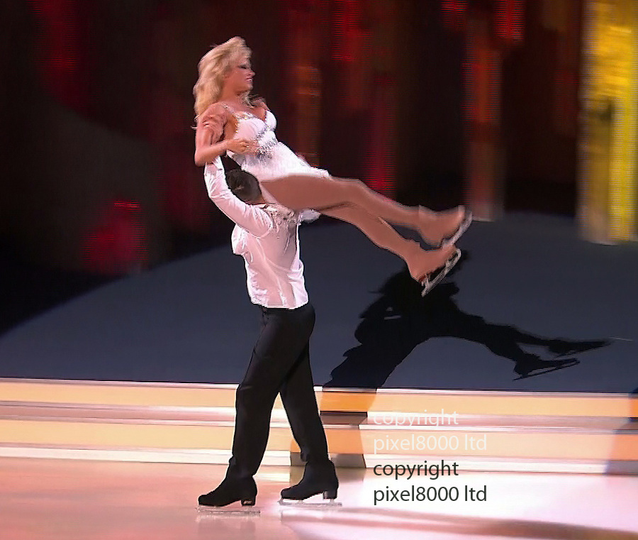 Dancing On Ice.Pamela Anderson dancing on the show with partner  Matt Evers .Wardrobe malfunction - for Pamela in the dance off as her boobs fell out of her dress and she stumbled as well..Voted off first week by judges.......Pic ITV supplied by Pixel 8000 Ltd.