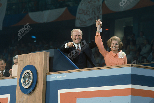 Gerald Ford with his wife Betty at the Republican National Convention, Kansas City, Missouri, USA, August 1976