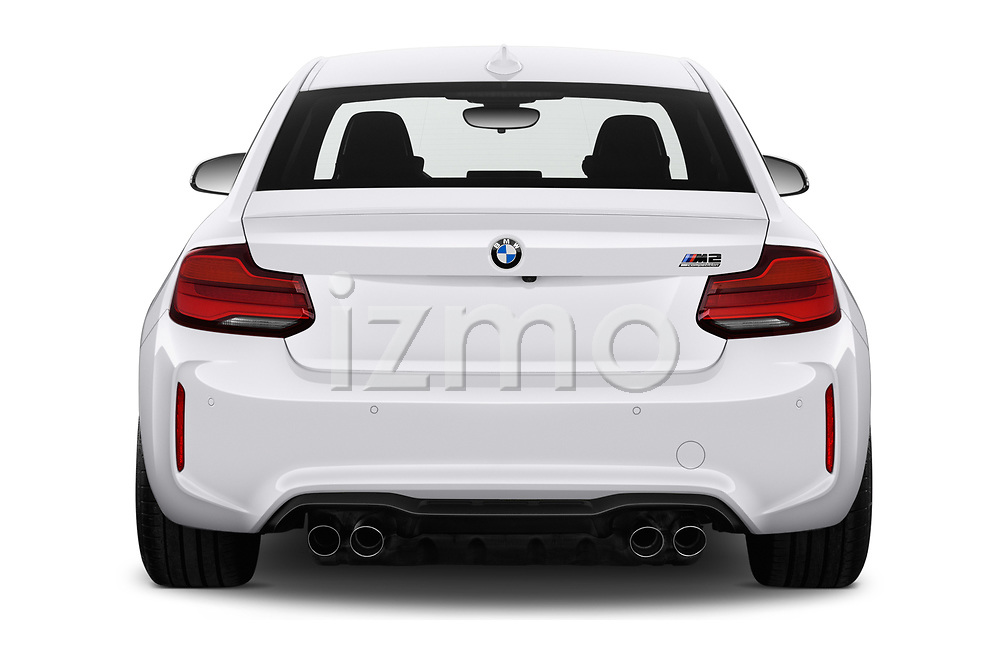 Straight rear view of a 2019 BMW m2 competition Base 2 Door Coupe stock images
