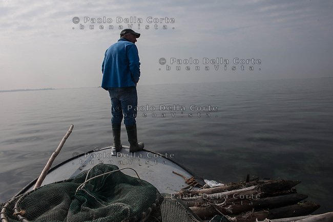 "Venice- Nets in the South lagoon. Ivan Bognolo from Giudecca it's one of the last ""moeche"" fisherman in the islands"