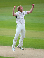 PICTURE BY VAUGHN RIDLEY/SWPIX.COM - Cricket - County Championship Div 2 - Yorkshire v Kent, Day 3 - Headingley, Leeds, England - 07/04/12 - Kent's Mark Davies celebrates the wicket of Yorkshire's Anthony McGrath for a duck.