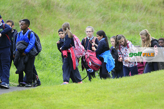 School children out enjoying the golf during Thursday's Round 1 of the 2016 Dubai Duty Free Irish Open hosted by Rory Foundation held at the K Club, Straffan, Co.Kildare, Ireland. 19th May 2016.<br /> Picture: Eoin Clarke | Golffile<br /> <br /> <br /> All photos usage must carry mandatory copyright credit (&copy; Golffile | Eoin Clarke)