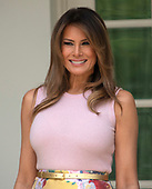 First lady Melania Trump stands on the Colonnade of the White House in Washington, DC on Monday, August 27, 2018.  <br /> Credit: Ron Sachs / CNP