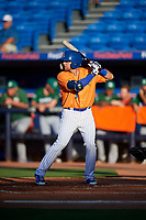 St. Lucie Mets second baseman Blake Tiberi (3) at bat during a game against the Daytona Tortugas on August 3, 2018 at First Data Field in Port St. Lucie, Florida.  Daytona defeated St. Lucie 3-2.  (Mike Janes/Four Seam Images)