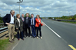 10-5-2017 Mairead McGuinness points out the 'invisible' line which marks the border (between the yellow of the republic and the white of Northern Ireland) to from left, Esteban Gonzalez Pons MEP, Esther De Lange MEP, Sean Kelly, Mep, Elmar Brok, MEP and Brian Hayes MEP as part of an EPP Group delegation who visited Co Louth to discuss Brexit and the importance of avoiding the return of a hard border between the Republic of Ireland and Northern Ireland on Wednesday. The MEPs held meetings with community, business and political representatives from the border region, and visiting Flagstaff, Omeath, and Carlingford. <br /> Photo Don MacMonagle<br /> <br /> repro free from EPP Group