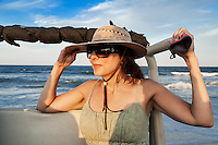 Woman enjoys the coastal view on an off road beach excursion, Outer Banks, North Carolina, USA