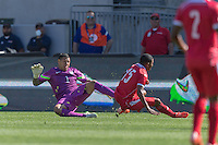 Carson, CA - Sunday, February 8, 2015: Goalkeeper Nick Rimando (1) of the USMNT and Erick Davis (15) of Panama. The USMNT defeated Panama 2-0 during an international friendly at the StubHub Center