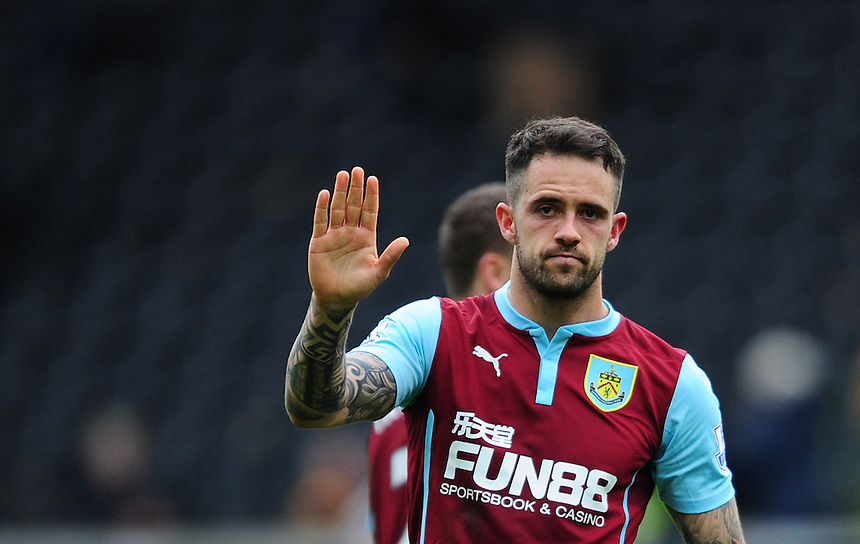 Burnley's Danny Ings acknowledges the fans at the end of the game <br /> <br /> Photographer: Chris Vaughan/CameraSport<br /> <br /> Football - Barclays Premiership - Hull City v Burnley - Saturday 9th May 2015 - Kingston Communications Stadium - Hull<br /> <br /> &copy; CameraSport - 43 Linden Ave. Countesthorpe. Leicester. England. LE8 5PG - Tel: +44 (0) 116 277 4147 - admin@camerasport.com - www.camerasport.com