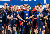FRISCO, TX - MARCH 11: Rose Lavelle #16, Megan Rapinoe #15 and Emily Sonnett #14 of the United States celebrate during a game between Japan and USWNT at Toyota Stadium on March 11, 2020 in Frisco, Texas.