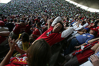 United States Men's National team fans react to the action on the field at Azteca stadium. The United States Men's National Team played Mexico in a CONCACAF World Cup Qualifier match at Azteca Stadium in, Mexico City, Mexico on Wednesday, August 12, 2009.